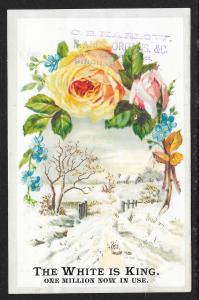 VICTORIAN TRADE CARD White Sewing Co Stock Card Roses & Snow View