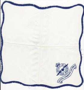 Royal Canadian Air Force , Regimental Silk Handkerchief; White ; embroidered:...