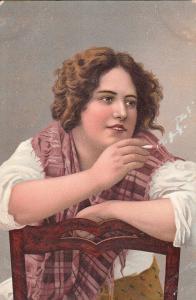 Stengel ethnic art folk cigarette smoking woman chromo early postcard