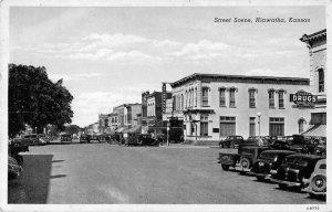 Hiawatha Kansas Street Scene Drug Store Vintage Postcard JI658156