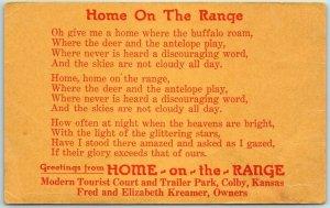 1941 Colby, KS Postcard HOME ON THE RANGE Tourist Court Trailer Park Roadside