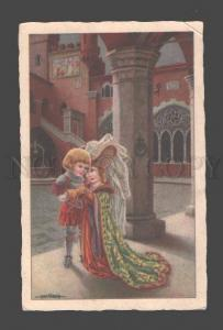 086438 ART DECO Kids KNIGHT & Lady by BERTIGLIA vintage PC