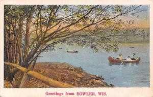 Bowler Wisconsin~Canoeing West Branch Red River~Railings on Bank~1930s Linen PC