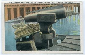 Harpoon Whale Gun Grays Harbor Washington 1920c postcard