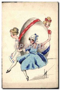 Old Postcard Fancy (drawing hand) Women Easter Egg