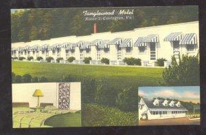COVINGTON VIRGINIA TANGLEWOOD MOTEL VINTAGE LINEN ADVERTISING POSTCARD