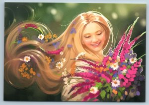 PRETTY WOMAN with Long Hair Spring Flowers Beauty Russian New Postcard