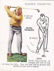 Player Vintage Cigarette Card Golf 1939 No 8 Drive Archie Compston
