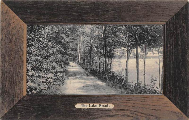 17011  Wood Frame Picture card   The Lake Road