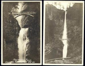 Columbia River Highway, Oregon, Multnomah Falls (1920) 2x RPPC