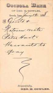 Osceola IA Bank Postal Peter Hart Wants to Pay~Geo H Cowles 1878