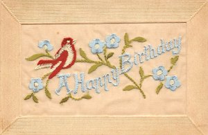 Silk Embroidered Post Card A Happy Birthday Stitching Bird and Flowers Writin...