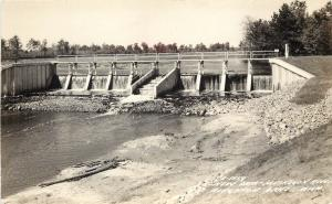 RPPC Postcard New Dam Muskegon River Houghton Lake MI Roscommon County