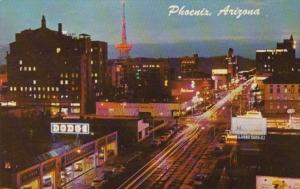 Arizona Phoenix First Avenue Looking South At Night 1966