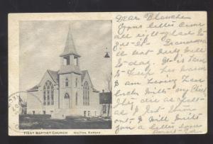 HOLTON KANSAS FIRST PABTIST CHURCH ANTIQUE VINTAGE POSTCARD HOLT MISSOURI