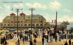 Auditorium, Long Beach, CA Pier Los Angeles County 1911 Vintage Postcard