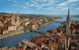 Switzerland Zurich Limmat Grossmunster und Fraumunster Bridge Church Postcard