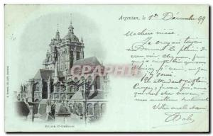 Postcard Ancient Church St Germain Argentan map 1899