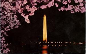 The Washington Monument Washington DC Night Pink c1973 Vintage Postcard E28