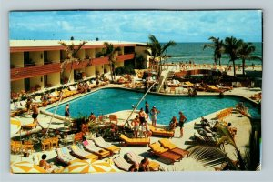 Daytona Beach FL- Florida, Sahara Motel, Advertising, Chrome Postcard