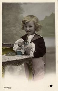 Beautiful Young Curly Girl with Smoking Tobacco Pipe (1910s) Stebbing RPPC III