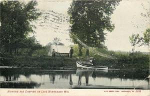 Lake Winnebago Wisconsin~Hunting & Camping~Tent by Water~Boat~1907 Postcard