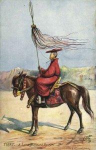 tibet thibet, Lama Standard Bearer (1910s) Tuck Oilette Postcard