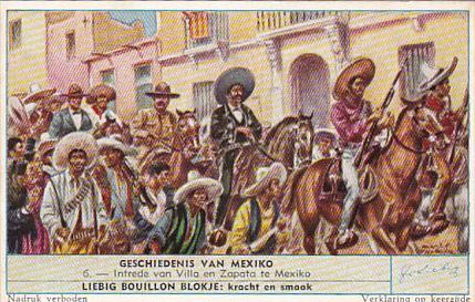 Liebig Trade Card s1702 History Of Mexico No 6 Intrede van Villa en Zapata ti...