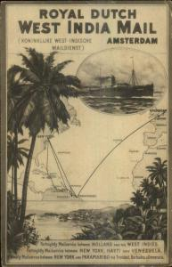 Royal Dutch West India Mail Steamship Suriname & Route Map Used 1910 Postcard