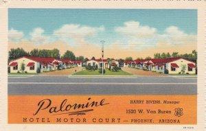 Arizona Phoenix Palomino Hotel Motor Court Curteich sk6833