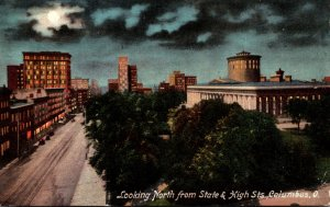 Ohio Columbus Looking North From State and High Streets At Night 1910