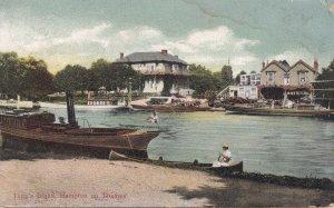 Taggs Island Hampton On Thames 1908 Antique River London Postcard