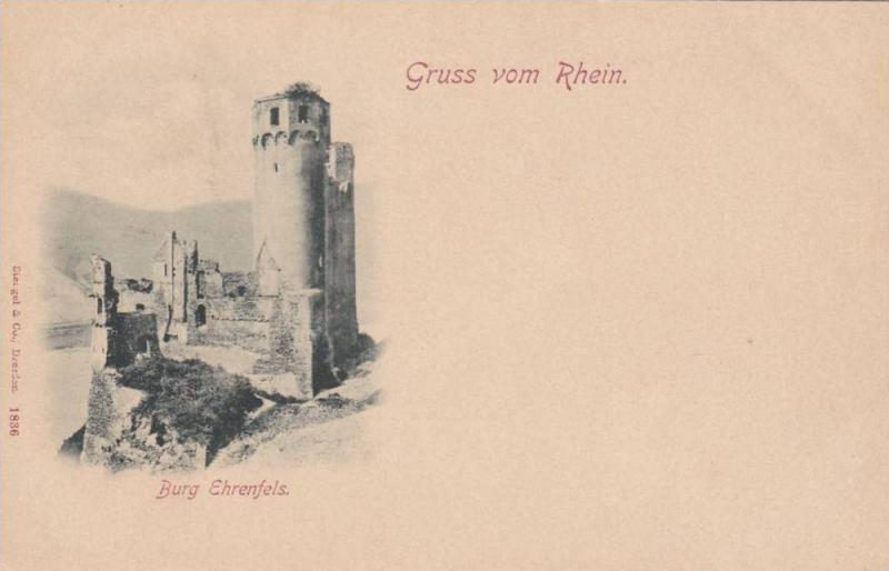 Gruss vom Rhein , Burg Ehrenfels ,  Germany , 1890s