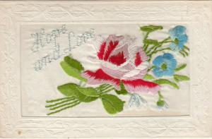 Hand Sewn, 1900-10s; Home and Love, Pink Rose & blue flowers