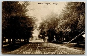 Wautoma Wisconsin~Main Street From Back in The Trees~Homes~Downtown~1908 PC