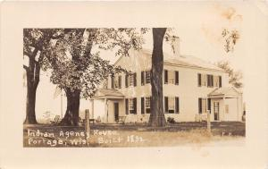 B41/ Portage Wisconsin RPPC Real Photo Postcard c1920 Indian Agency House