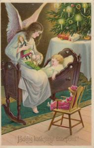 CHRISTMAS : Angel watches sleeping child , 1910