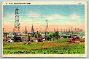 Longview Texas~Oil Field~Derricks & Wooden Cabins~1935 Linen Postcard