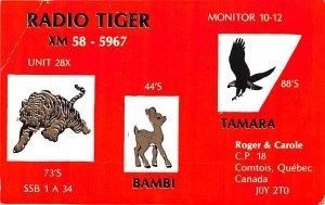 Radio Tiger, Non Postcard Backing Quebec Unused