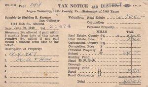 ALTOONA, Pennsylvania, PU-1949; Tax Notice
