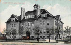 Brandon Manitoba Canada Park School Antique Postcard J54842