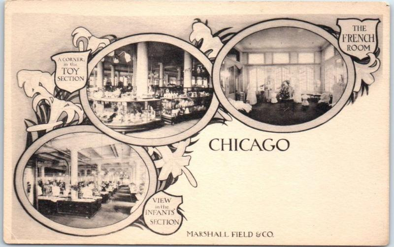 Chicago IL Postcard MARSHALL FIELD Dept. Store Toy & Infants' Sections c1900s