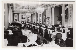 Chicago, Victorian Room, Palmer House, RPPC