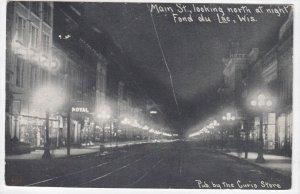 FOND DU LAC , Wisconsin, 1900-10s ; Main Street at night