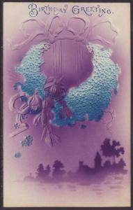 Birthday Greetings,Flowers,Scene Postcard