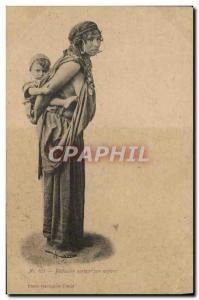 Old Postcard Eastern Beauty Bedouine carrying her child