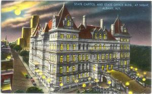 State Capital at Night Albany NY New York 1964