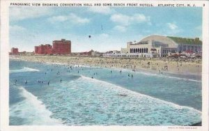 New Jersey Atlantic City Panoramic View Showing Convention Hall and Some Beac...