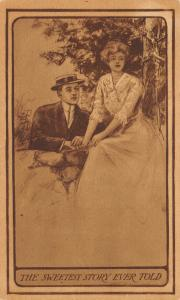 The Sweetest Story Ever Told 1910 Postcard Lovers Couple Romance