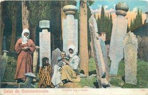 Postcard Turkey Constantinopole cards Turkish Cemetery in Scutari Albania